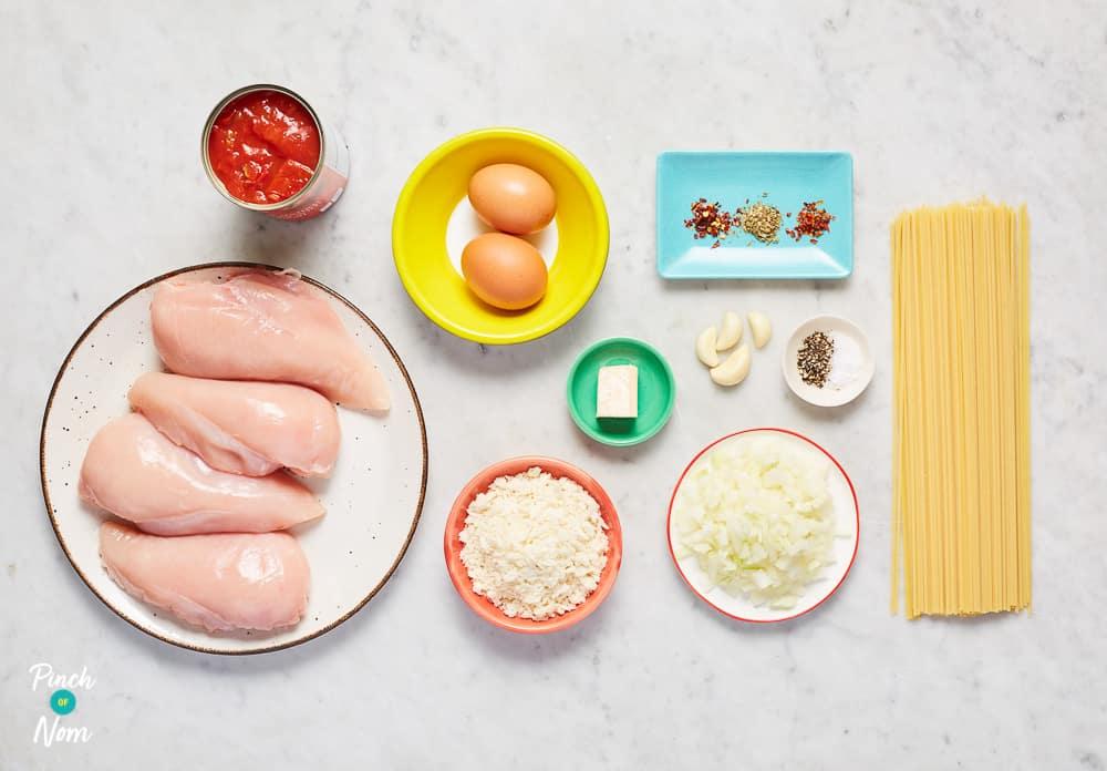 Chicken Milanese with Spaghetti Pomodoro - Pinch of Nom Slimming Recipes