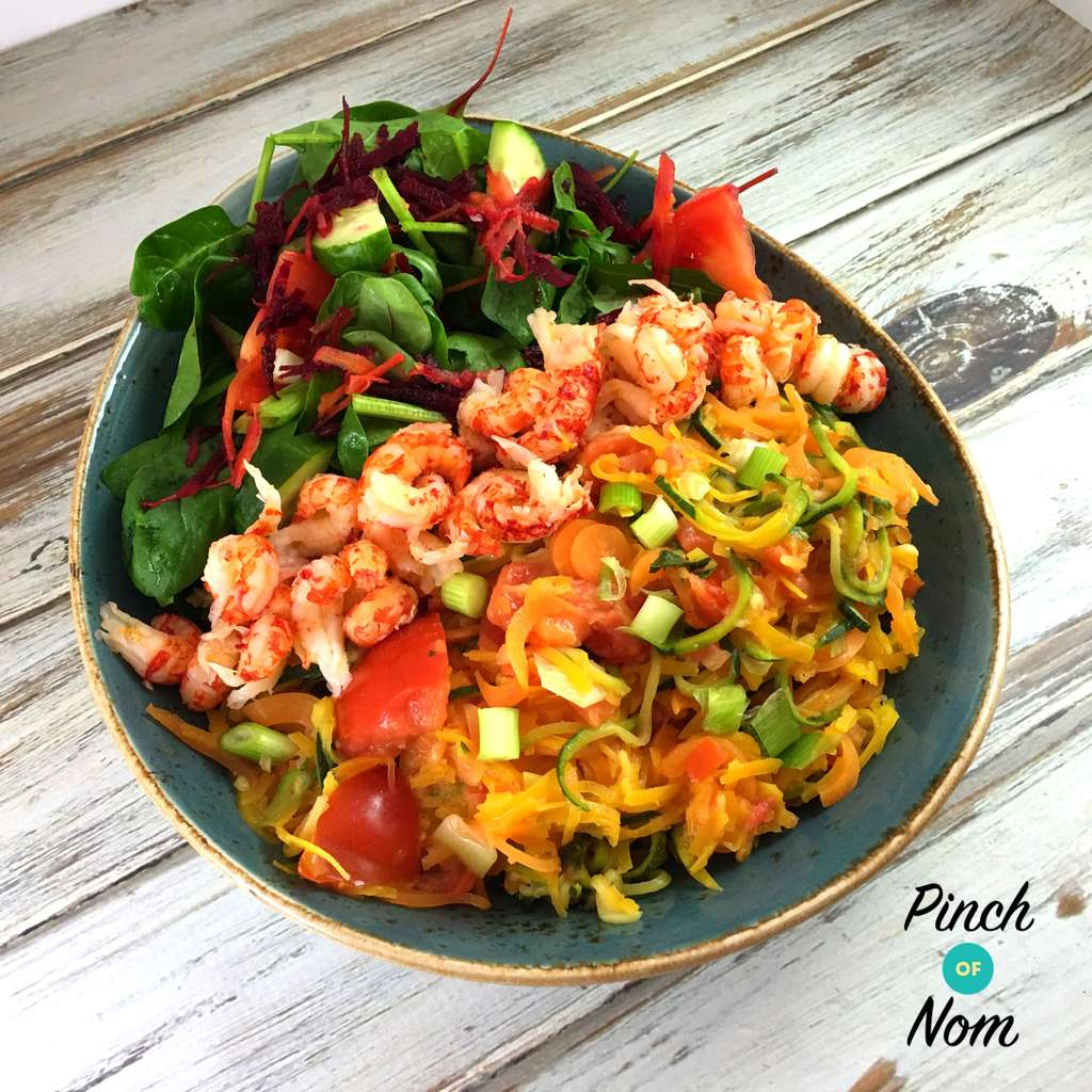 Zesty Spiralized Vegetables with Fish - Pinch of Nom Slimming Recipes