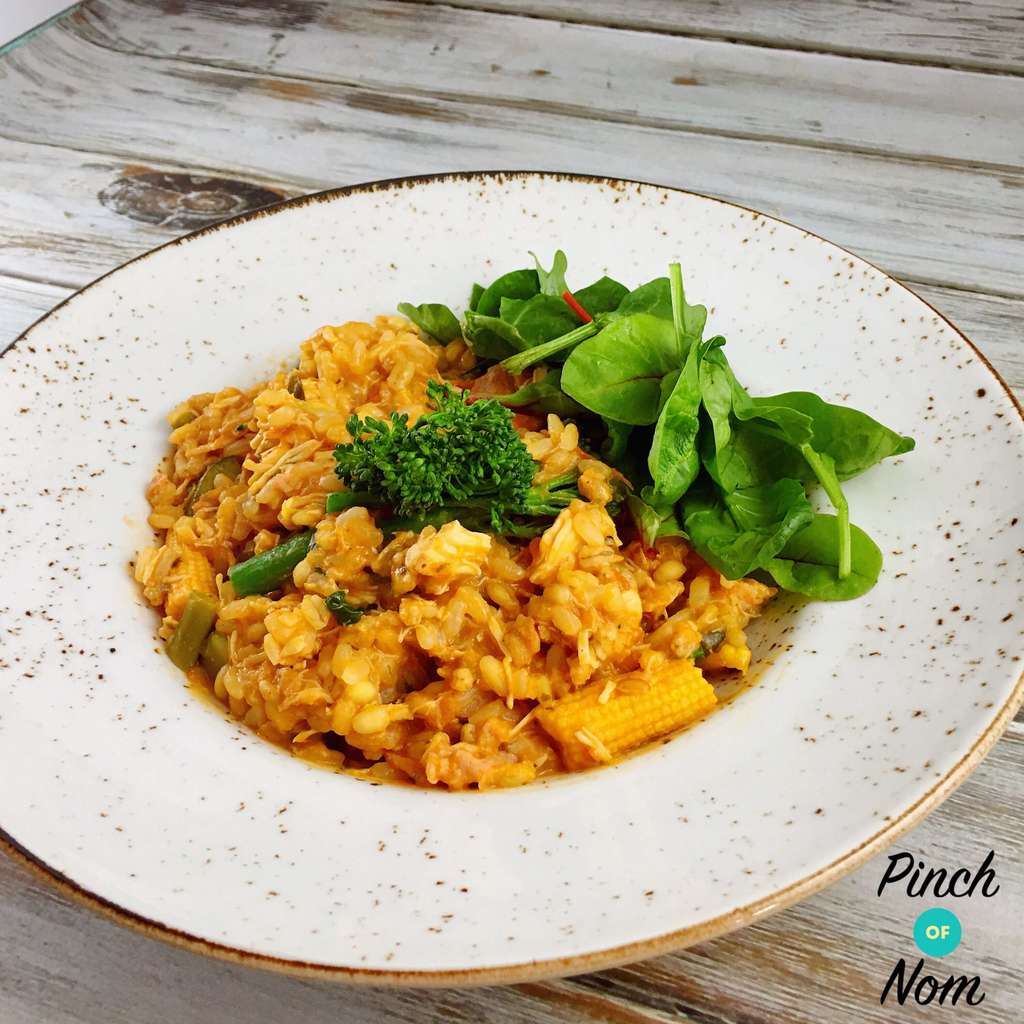 Tomato, Bacon, Sausage and Mushroom Risotto - Pinch of Nom Slimming Recipes