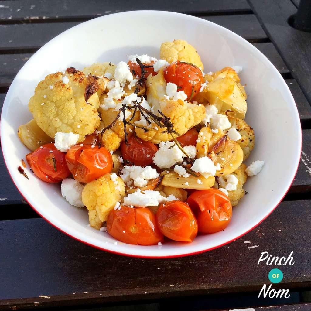 Mediterranean Roasted Cauliflower pinchofnom.com