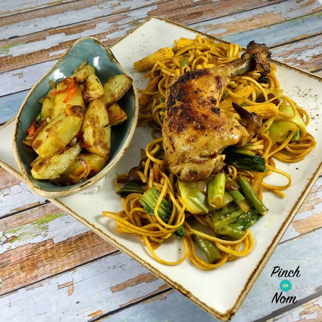 Sticky Chilli Chicken with Noodles pinchofnom.com