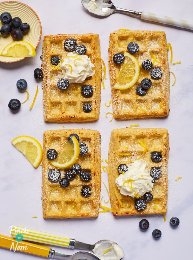 Lemon and Blueberry Waffles pinchofnom.com