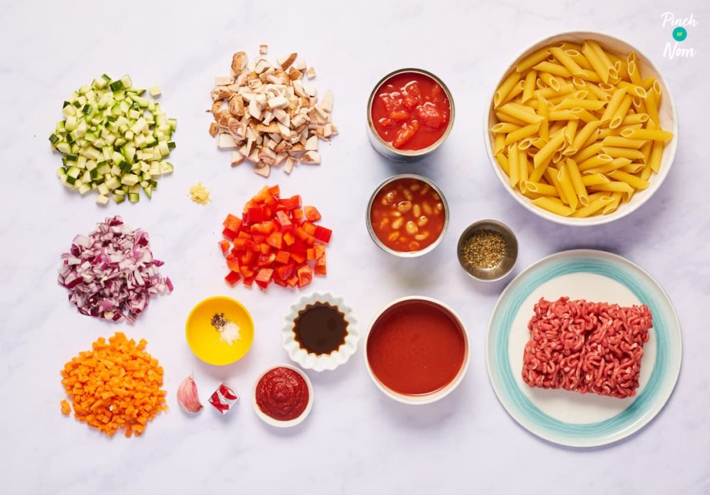 Baked Bean Bolognese - Pinch of Nom Slimming Recipes