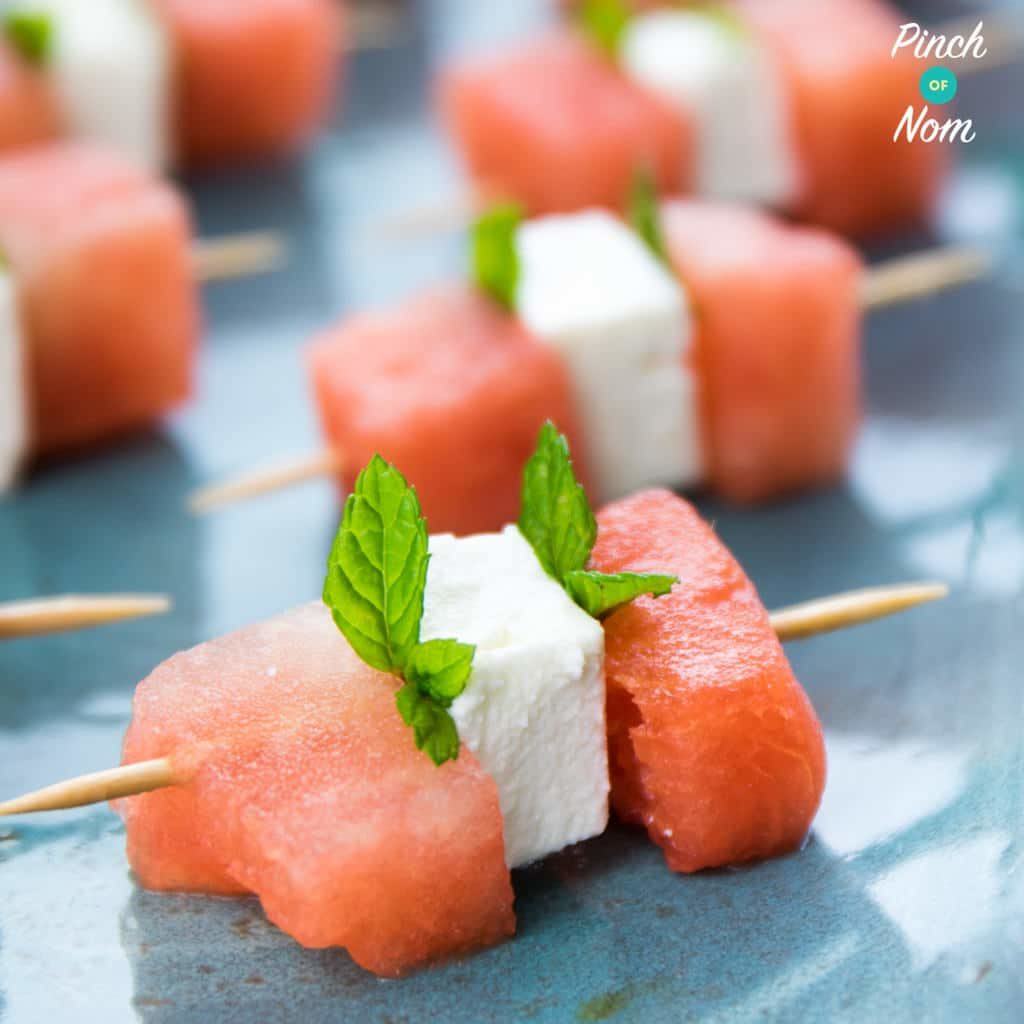 Watermelon, Feta and Mint Bites - Pinch of Nom Slimming Recipes