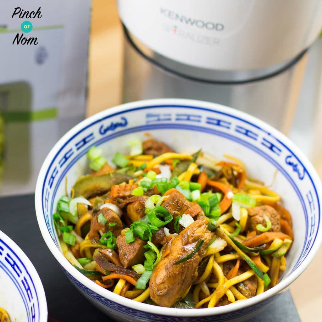 Spiralized Vegetable and Chicken Chow Mein pinchofnom.com