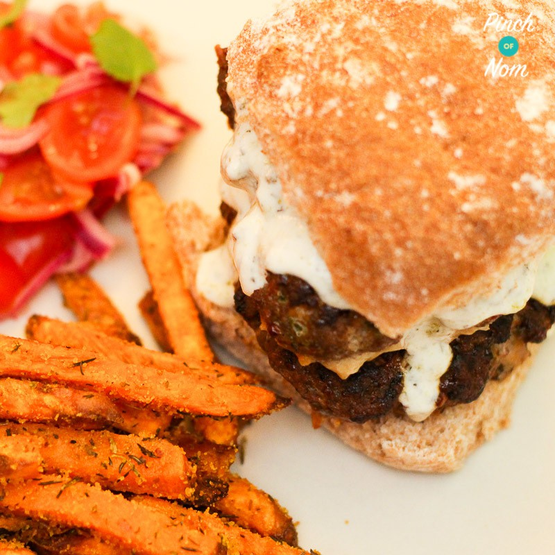 Moroccan Lamb Burgers pinchofnom.com