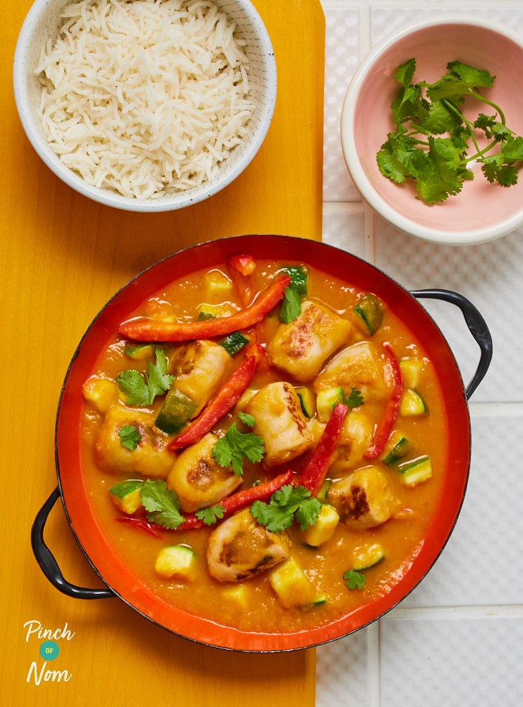 Curried Sausages - Pinch of Nom Slimming Recipes