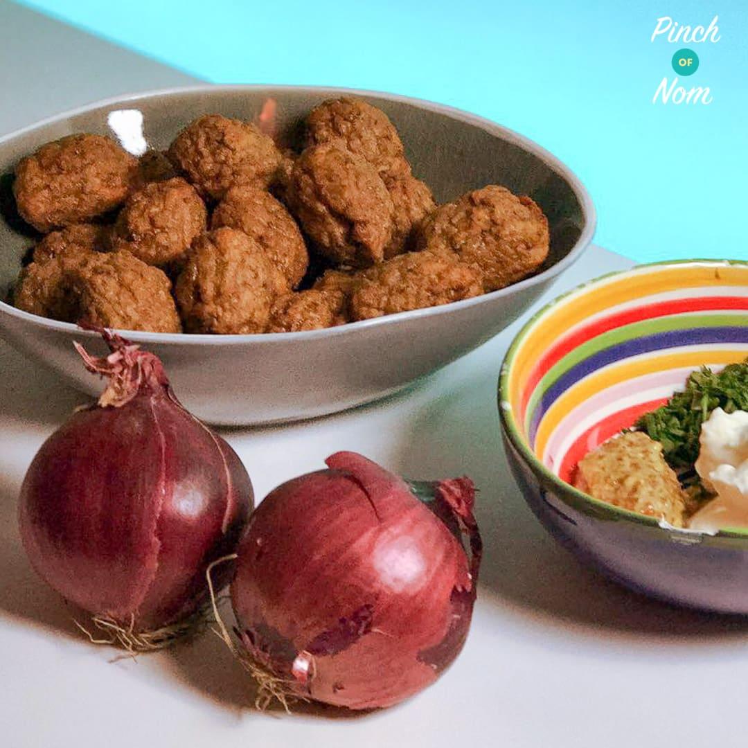 Veggie Meatballs with Onion and Mustard Sauce pinchofnom.com