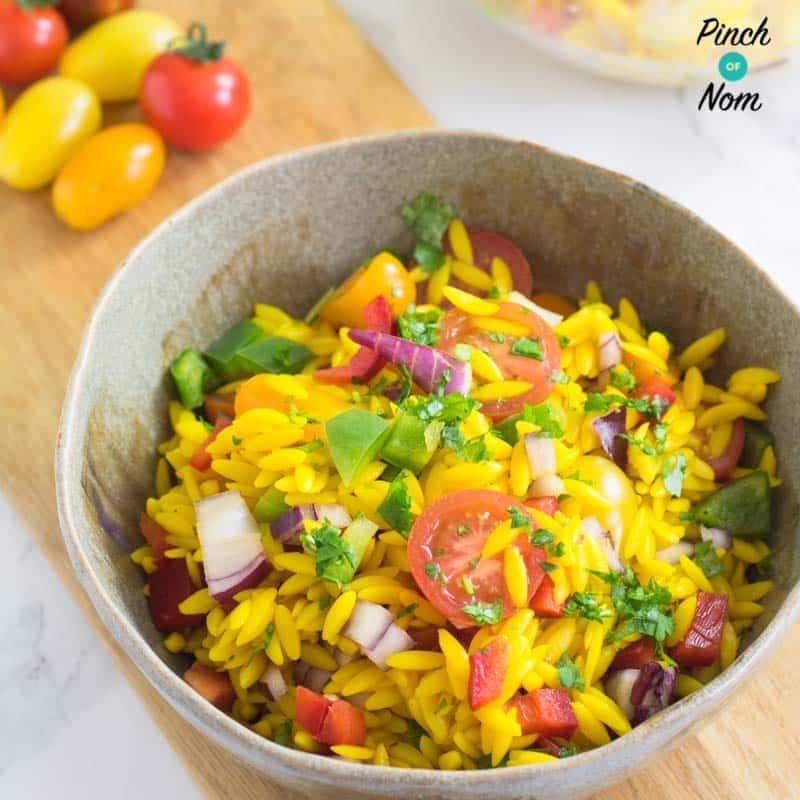 Orzo Primavera Pasta Salad - Pinch of Nom Slimming Recipes