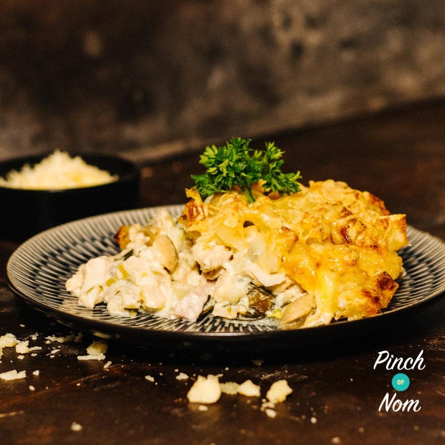 Chicken Tartiflette pinchofnom.com