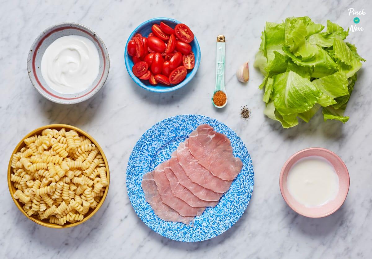 BLT Pasta Salad - Pinch of Nom Slimming Recipes