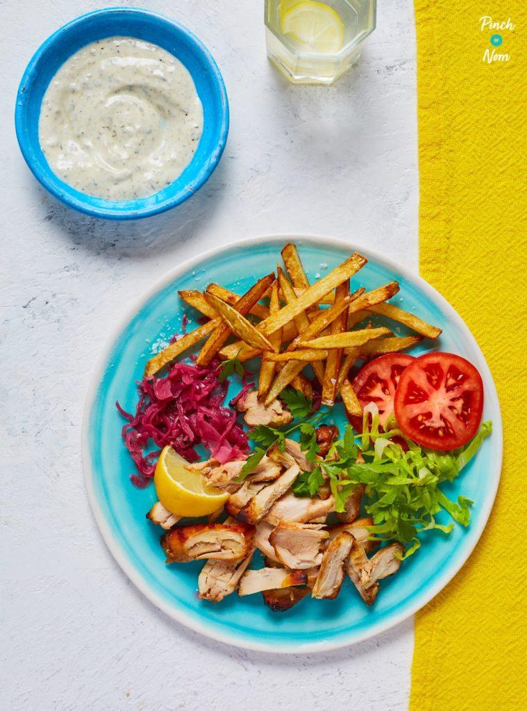 Chicken Gyros Kebabs pinchofnom.com