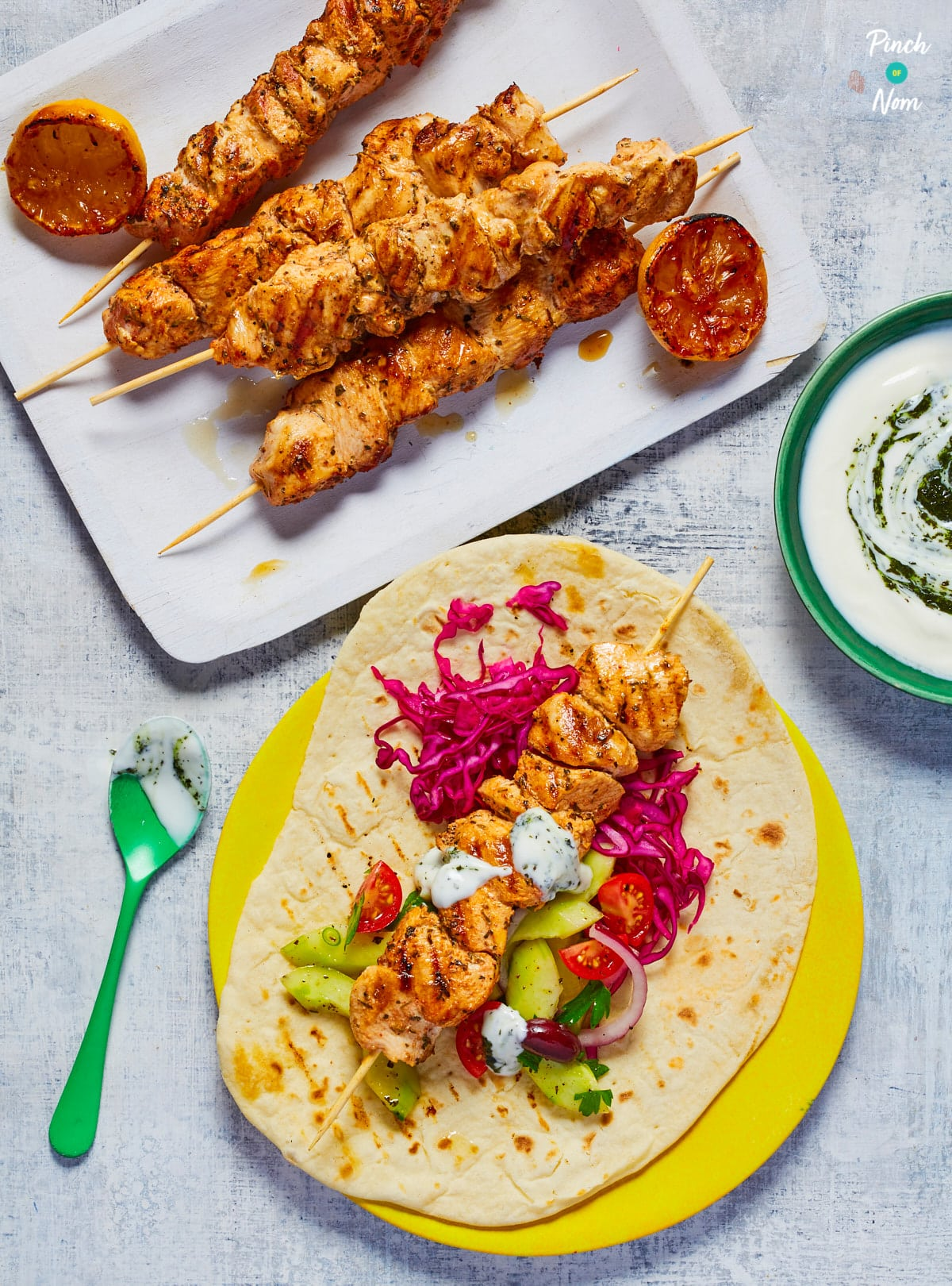 Chicken Souvlaki and Tzatziki - Pinch of Nom Slimming Recipes