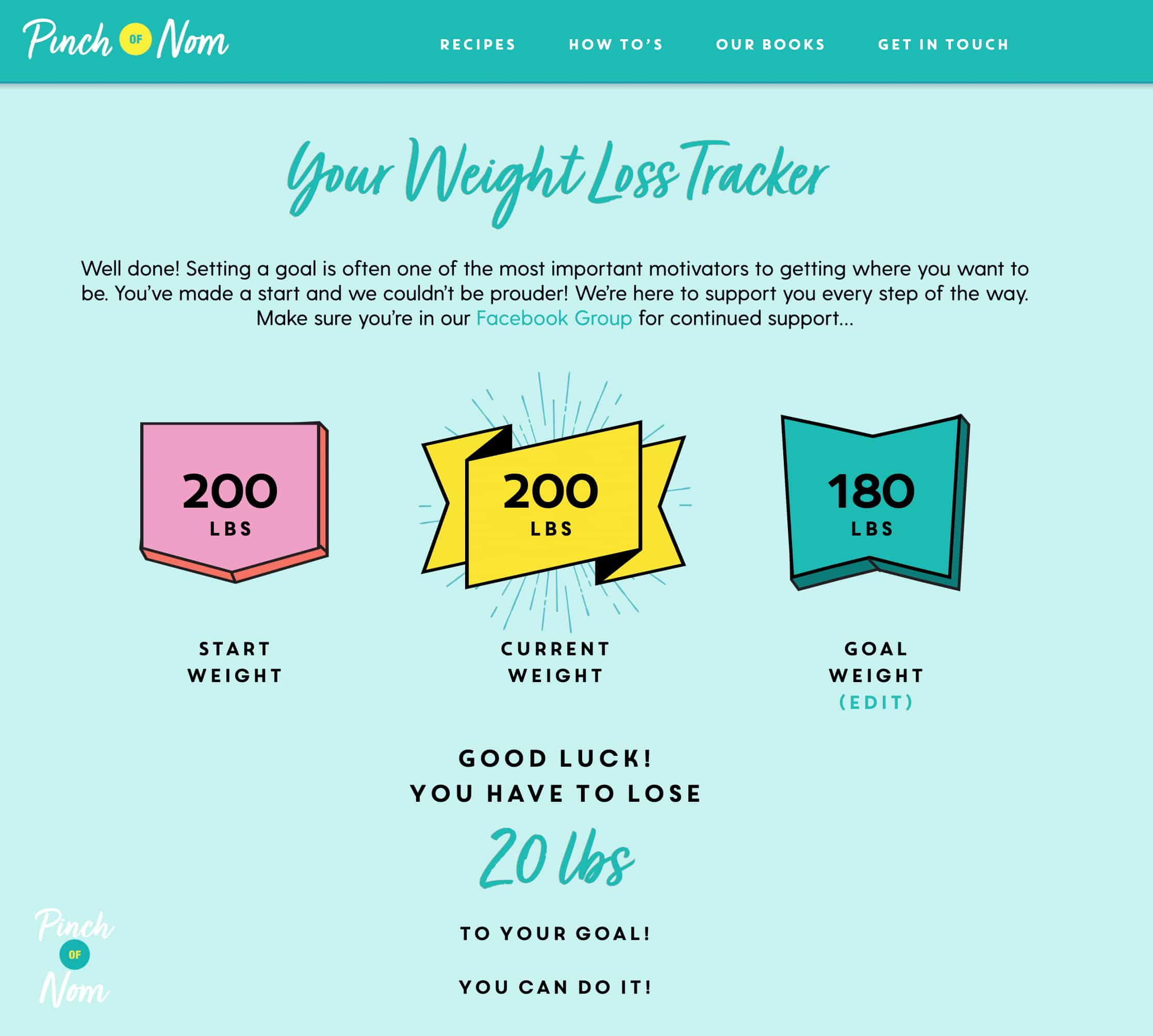 How to use our Weight Loss Tracker - Pinch of Nom