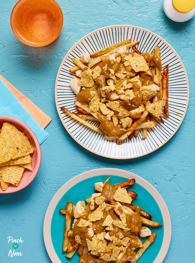 Loaded Katsu Curry Fries - Pinch of Nom Slimming Recipes