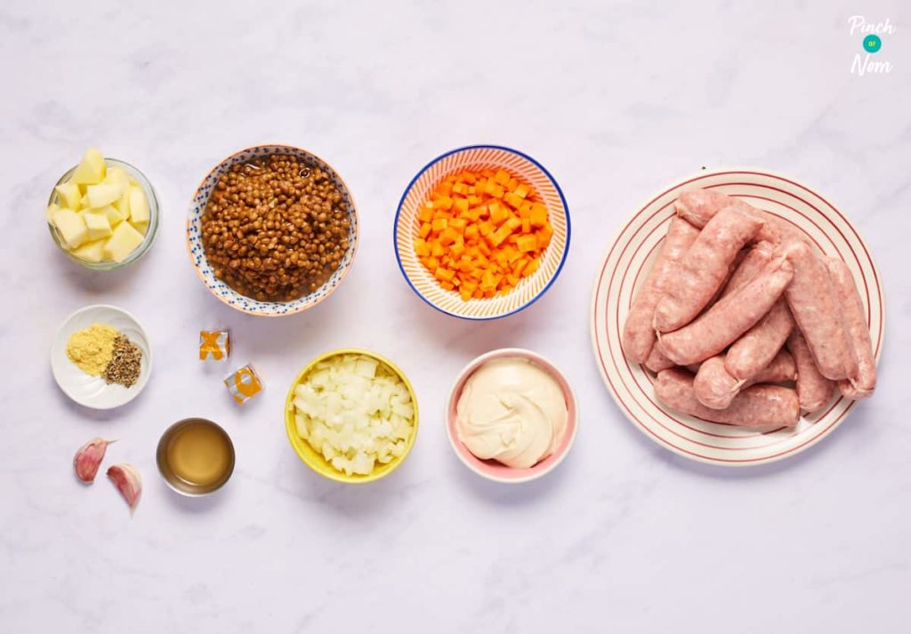 Sausages with Creamy Lentils - Pinch of Nom Slimming Recipes