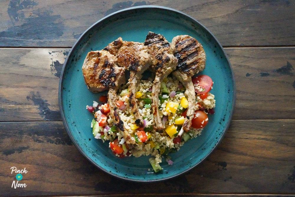 Sumac Lamb Chops and Rainbow Couscous - Pinch of Nom Slimming Recipes