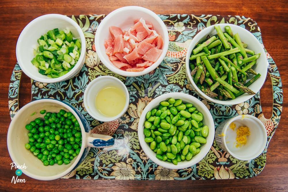 Avocado, Asparagus, Soya Bean and Bacon Salad - Pinch of Nom Slimming Recipes