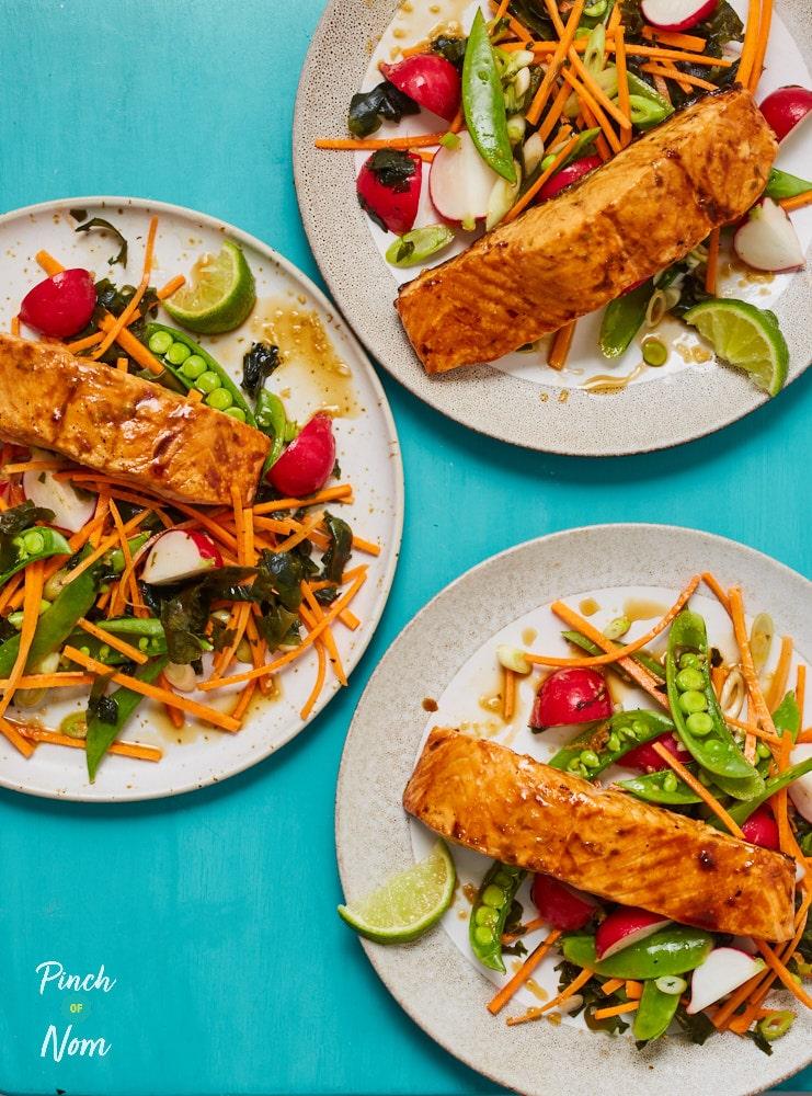 Honey Soy Salmon with Seaweed Salad pinchofnom.com