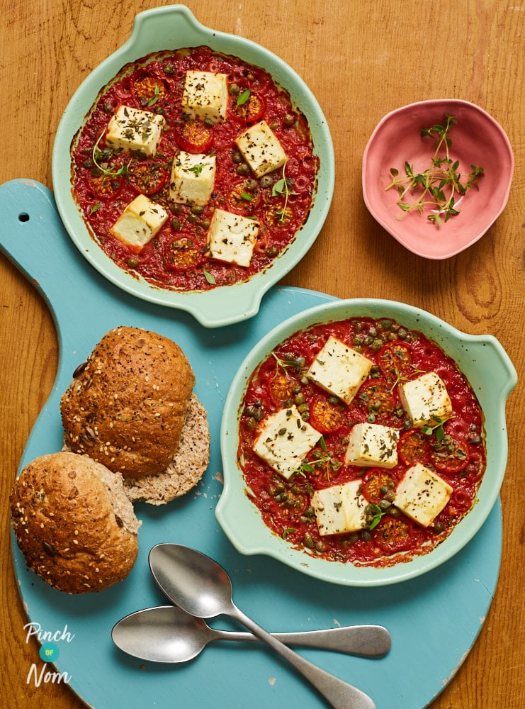 Baked Feta and Tomatoes - Pinch of Nom Slimming Recipes