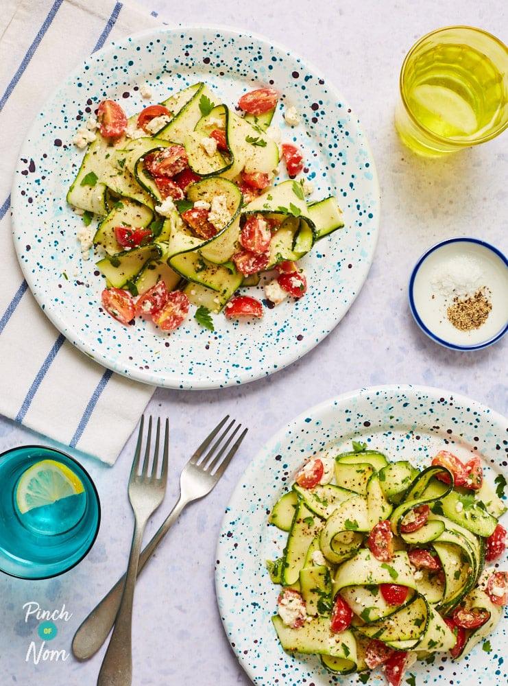 Courgette Ribbon, Lemon and Feta Salad - Pinch of Nom Slimming Recipes