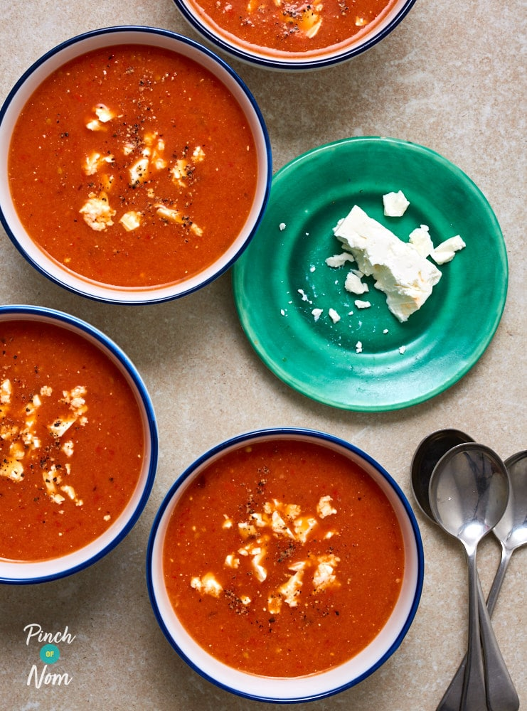 Roasted Red Pepper and Feta Soup - Pinch of Nom Slimming Recipes