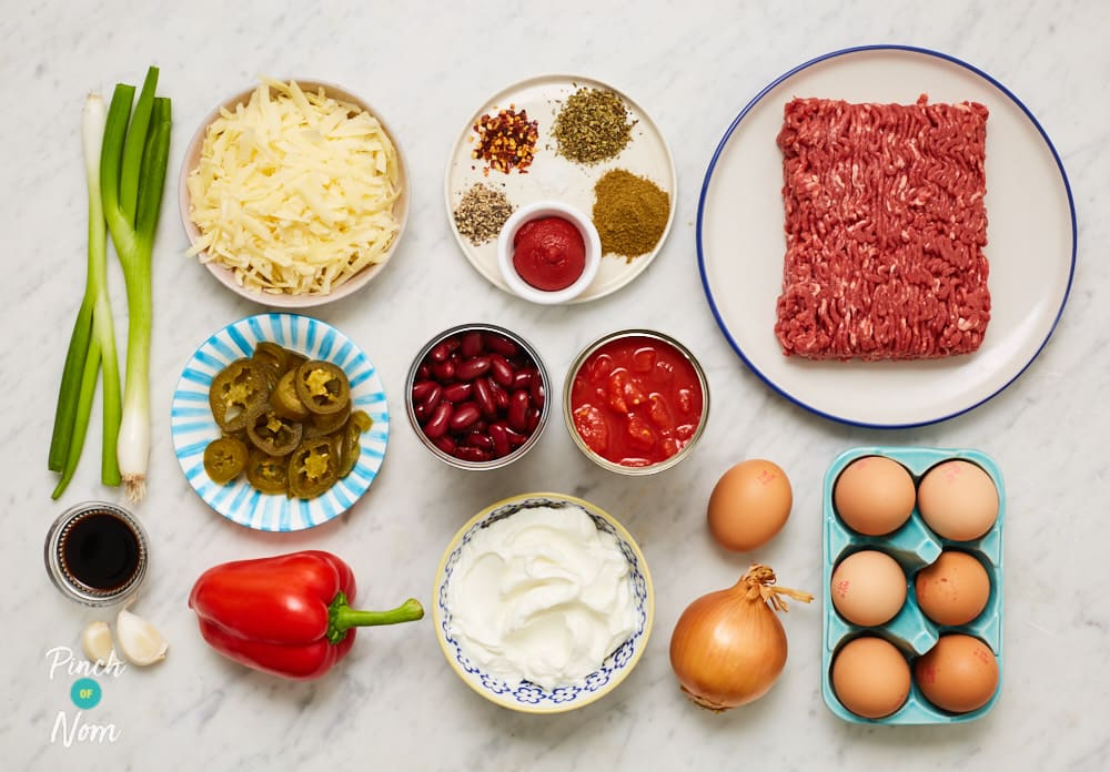 Beef and Burrito Bake - Pinch of Nom Slimming Recipes