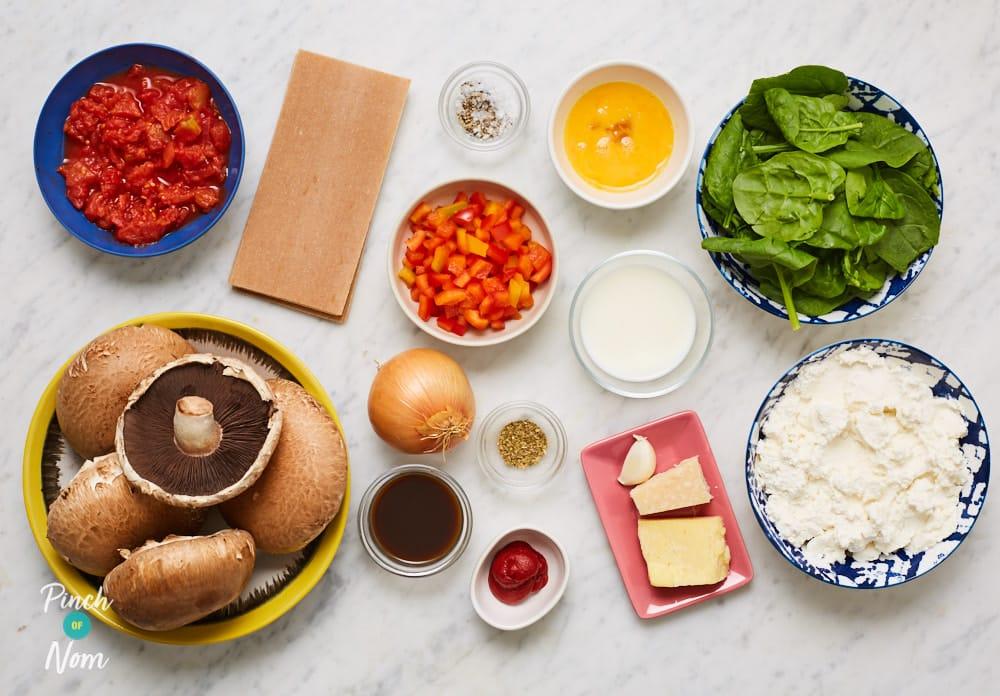 Mushroom and Spinach Lasagne - Pinch of Nom Slimming Recipes