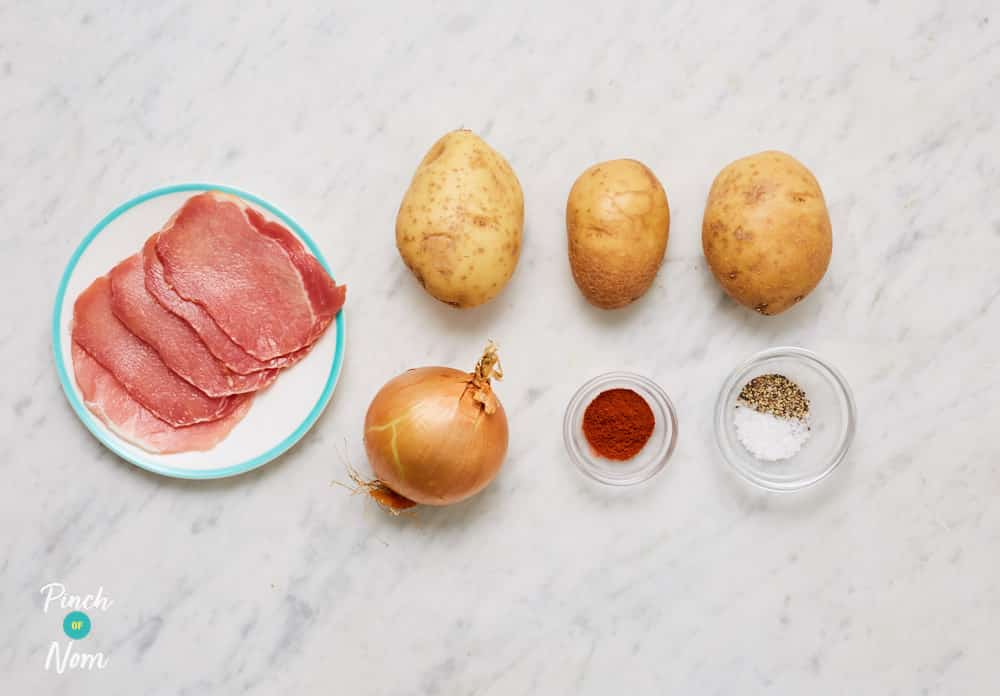 Roasted Potatoes with Smoked Bacon - Pinch of Nom Slimming Recipes