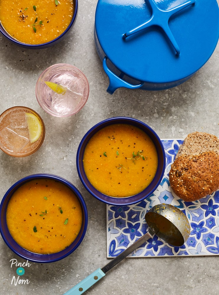 Carrot Orange and Thyme Soup - Pinch of Nom Slimming Recipes