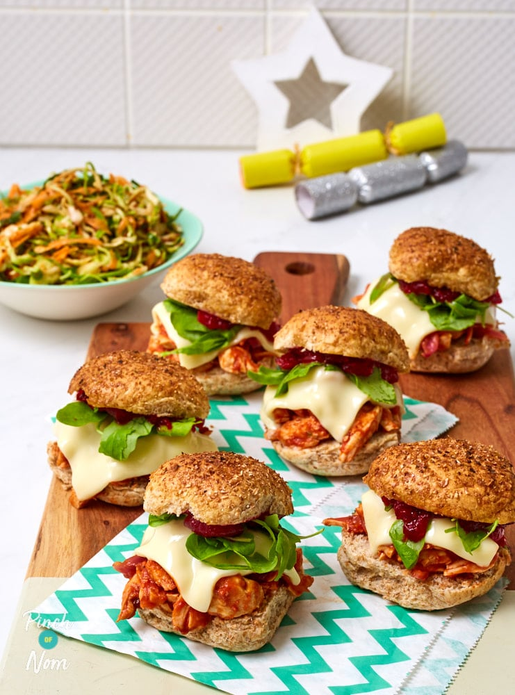 BBQ Turkey Sliders and Christmas Slaw - Pinch of Nom Slimming Recipes