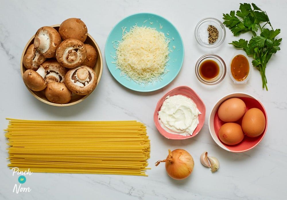 Mushroom Carbonara - Pinch of Nom Slimming Recipes
