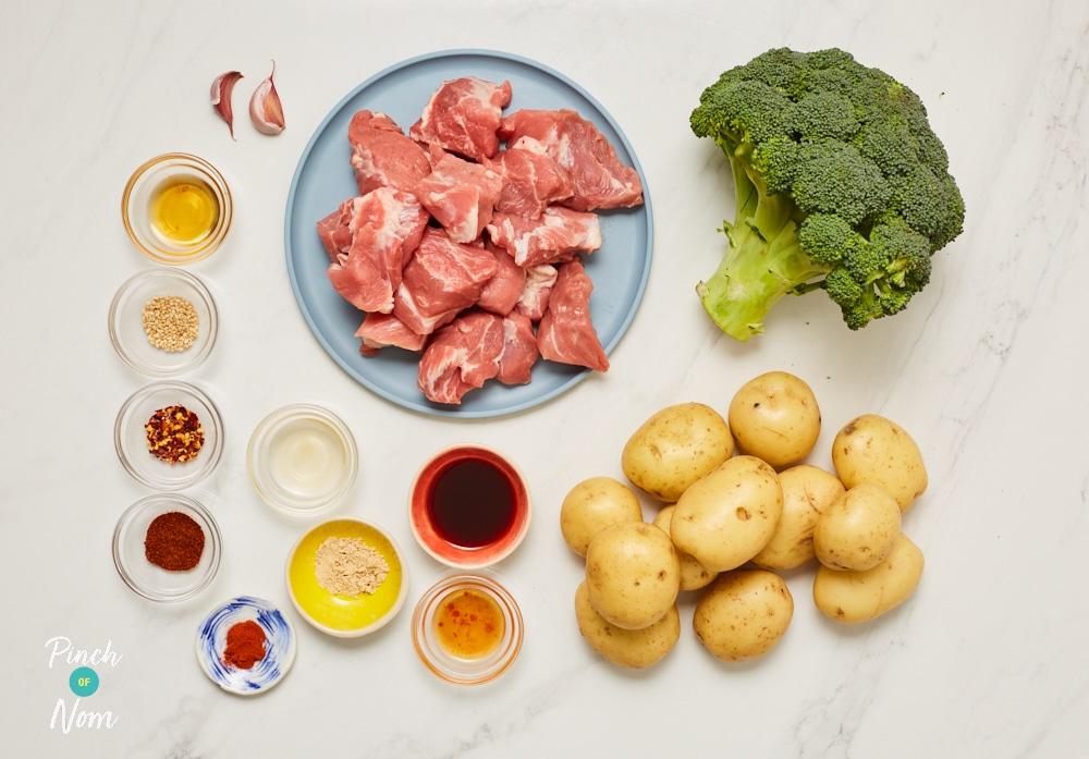 Bang Bang Pork with Spicy Roast Potatoes - Pinch of Nom Slimming Recipes