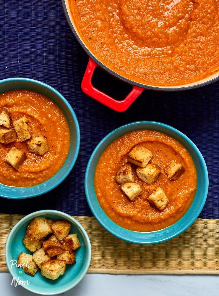 Cream of Tomato Soup and Croutons - Pinch of Nom Slimming Recipes