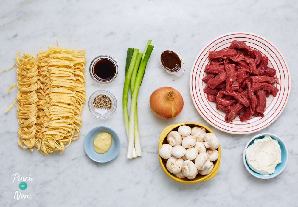 Creamy Peppered Beef Pasta - Pinch of Nom Slimming Recipes