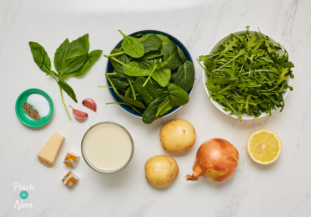Cream of Spinach and Rocket Soup - Pinch of Nom Slimming Recipes