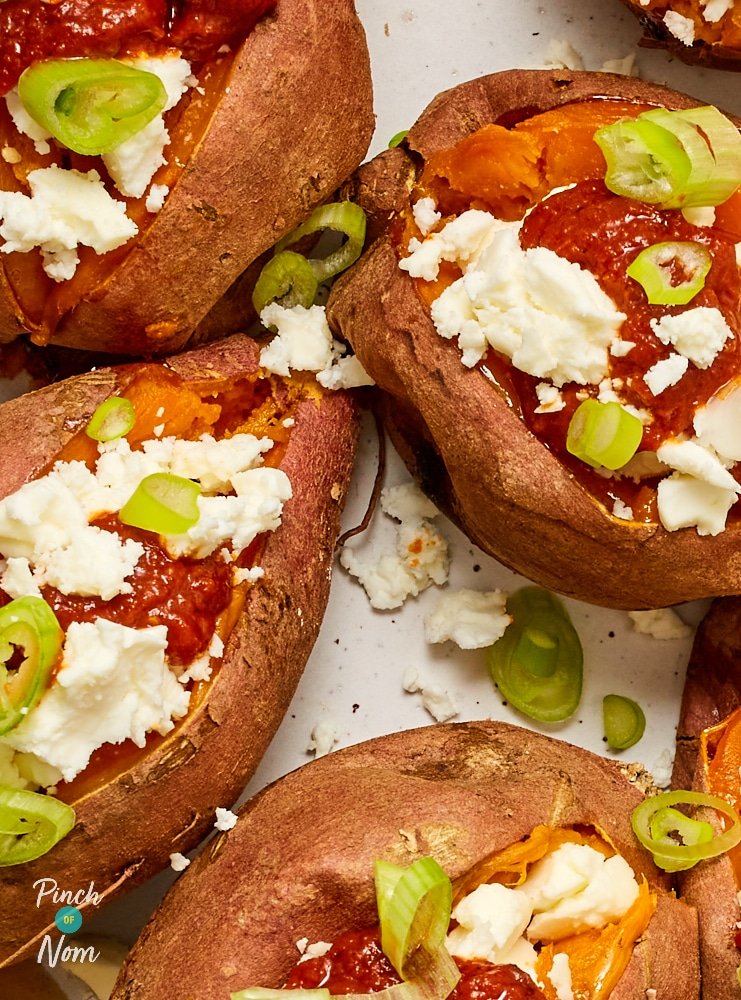 Sweet Potatoes with Feta and Harissa - Pinch of Nom Slimming Recipes