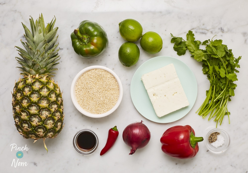 Summer Pineapple, Lime, Feta and Quinoa Salad - Pinch of Nom Slimming Recipes