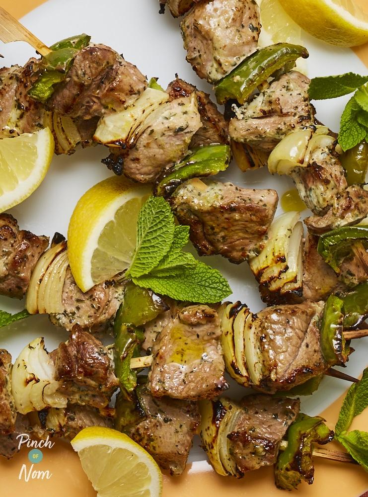 Minted Lamb Kebabs - Pinch of Nom Slimming Recipes