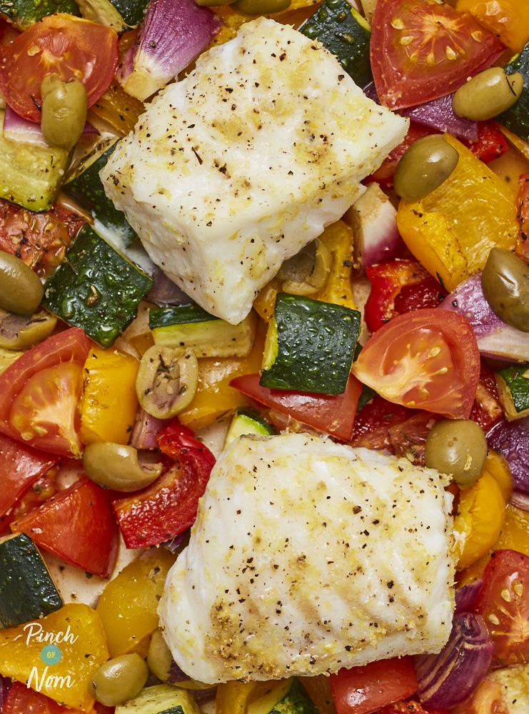 Baked Cod Provencal - Pinch of Nom Slimming Recipes